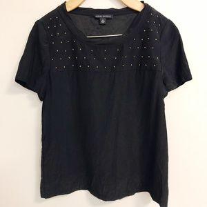 BANANA REPUBLIC Black Silk Studded S/S Blouse Sz S